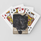 Personalised Black Lab Dog Photo and Dog Name Playing Cards