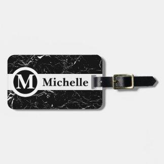 Personalised Black Marble Centerline Bag Tag