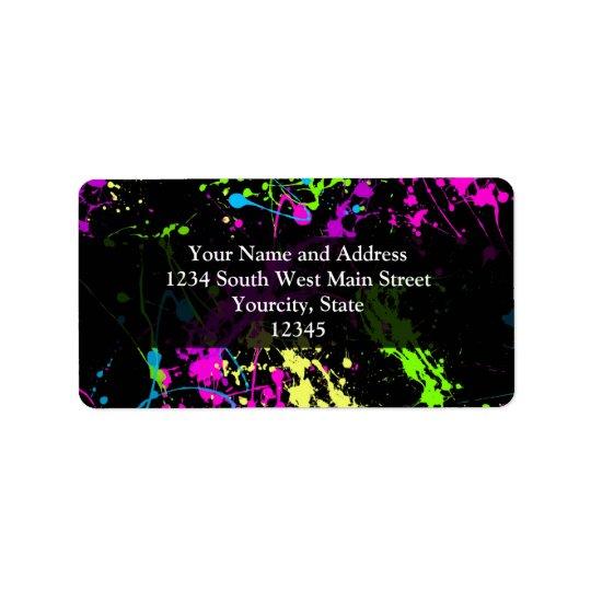 Personalised Black/Neon Splatter Label