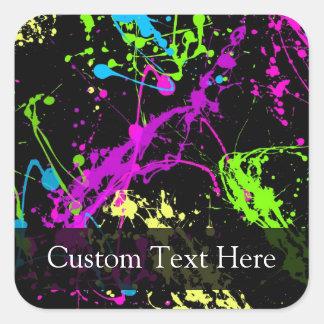 Personalised Black/Neon Splatter Stickers