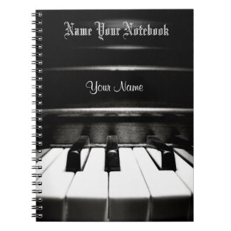 Personalised Black Piano Music Notebook