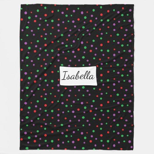 Personalised Black Red Green Purple Dot  Blanket