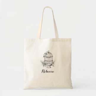 Personalised Black & White Birdcage Print Tote Bag
