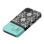Personalised black & white damask with teal blue iPhone 4 cases