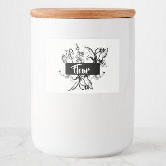 Personalised Black & White Floral Food Canister Food Label