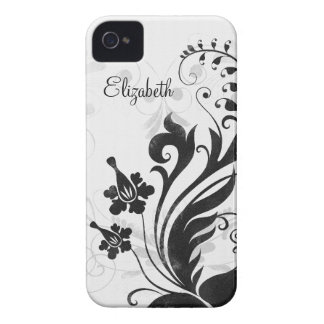 Personalised Black White Floral iPhone 4 Case