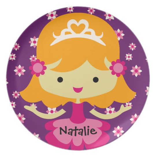 Personalised Blonde Princess Plate