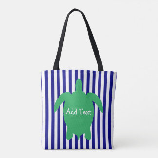 Personalised Blue and Green Sea Turtle Beach Bag