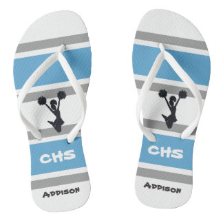 Personalised Blue and Silver Cheerleader Flip Flop