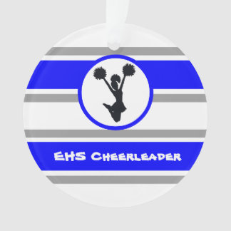 Personalised Blue and Silver Cheerleader Ornament