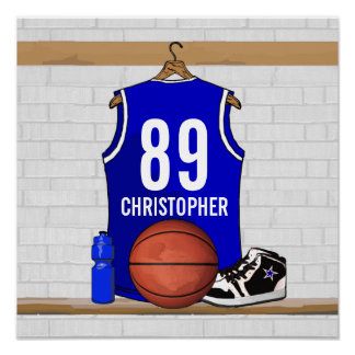 Personalised Blue and White Basketball Jersey Poster