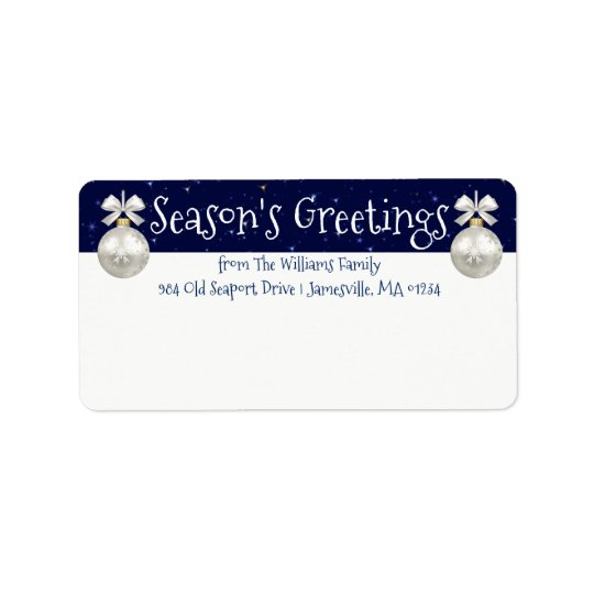 Personalised Blue and White Holiday Mailing Labels