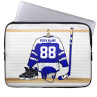 Personalised Blue and White Ice Hockey Jersey Laptop Sleeve