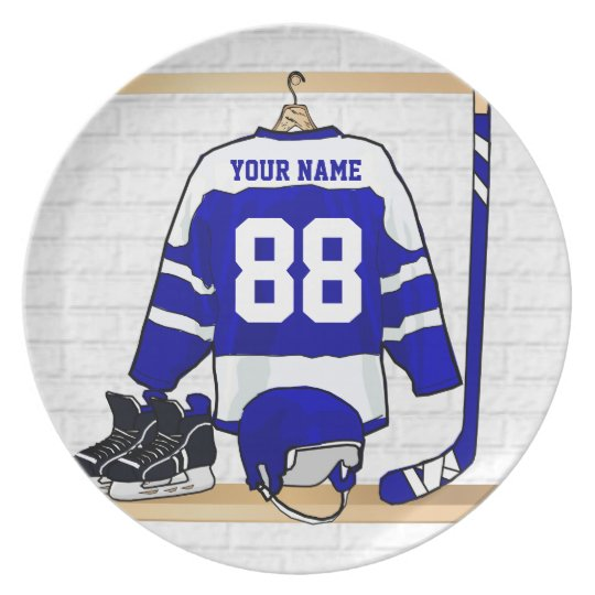 Personalised Blue and White Ice Hockey Jersey Plate