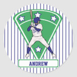 Personalised Blue baseball bat Round Stickers