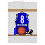 Personalised Blue Basketball Jersey Greeting Cards