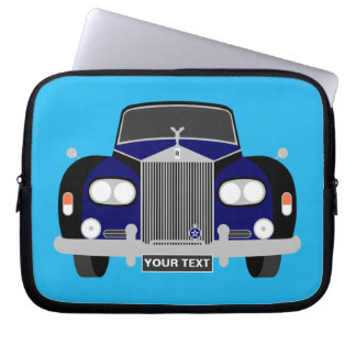 Personalised Blue British classic Limousine car Laptop Sleeve