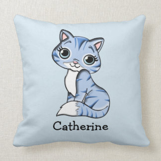 Personalised Blue Cat with Big Expressive Eyes Cushion