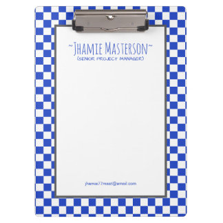Personalised Blue Chequered Clipboards