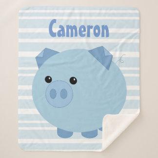 Personalised Blue Chubby Pig Sherpa Blanket