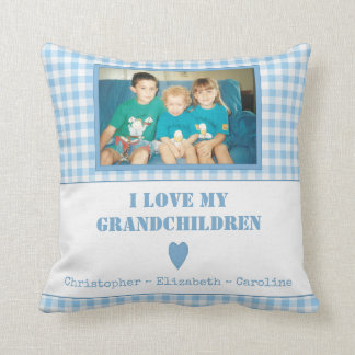 Personalised blue gingham Photo Grandparents Throw Pillow