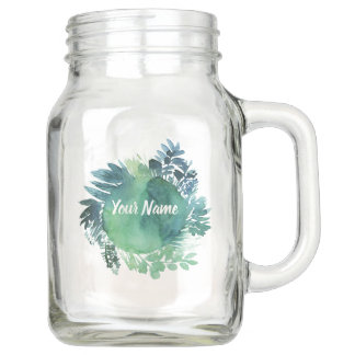 Personalised Blue Green Foliage Round Mason Jar
