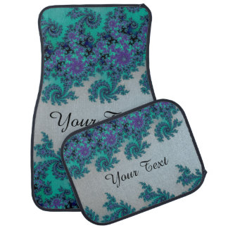 Personalised Blue Green Fractal Car Mats