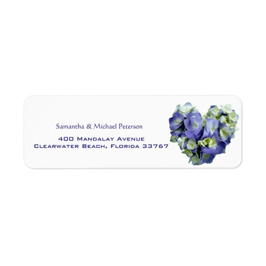 Personalised Blue Heart-shaped Hydrangea Wedding Return Address Label