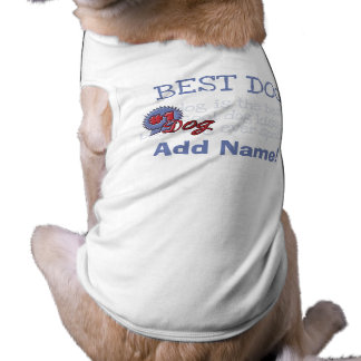 Personalised Blue Ribbon Dog Tshirt