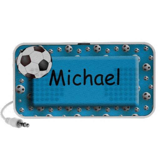 Personalised Blue Soccer Ball Doodle Speaker