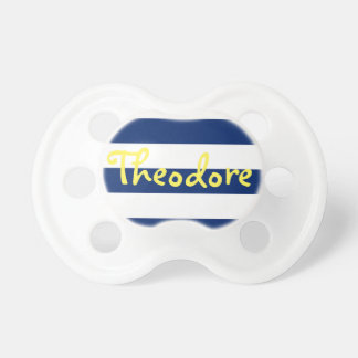 Personalised Blue Stripe Pacifier, Yellow Name Baby Pacifier