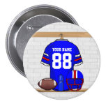 Personalised Blue WR Football Grid Iron Jersey Buttons