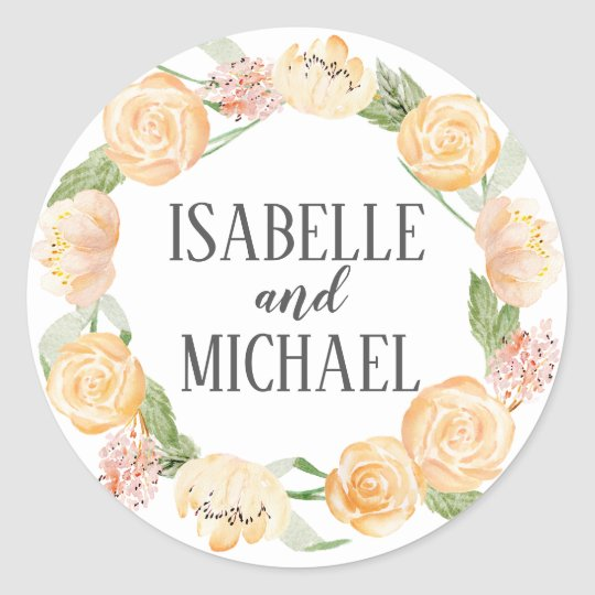 Personalised Blush Gold and Pink Rose Floral Classic Round Sticker