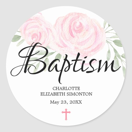 Personalised Blush Pink Rose and Cross Baptism Classic Round Sticker