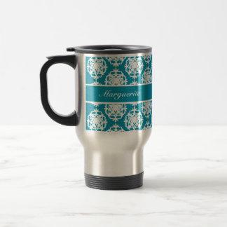 Personalised Bondi Blue with White Damask Stainless Steel Travel Mug