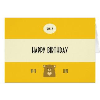 Personalised Boo Bear - Sunflower Yellow Card