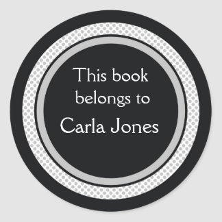 Personalised Bookplates:Black And Grey Polka Dots Classic Round Sticker
