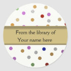 Personalised Bookplates - Colourful Dots Classic Round Sticker