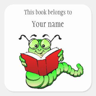 Personalised Bookworm Bookplate Sticker