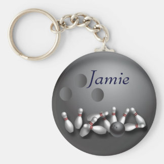 Personalised bowling ball and strike key ring