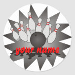 Personalised Bowling Round Stickers