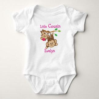Personalised Boy, Girl Monkeys Little Cousin Baby Bodysuit