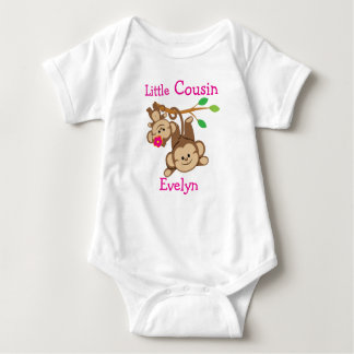 Personalised Boy, Girl Monkeys Little Cousin Tee Shirts