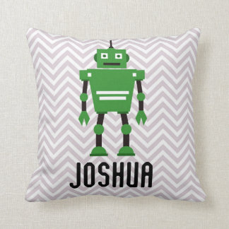 Personalised Boys Green Robot Pillow