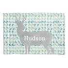 Personalised Boy's Room Deer Abstract Triangles Pillowcase