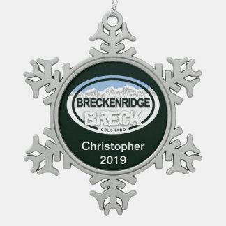 Personalised Breckenridge Colorado Rocky Mountain Snowflake Pewter Christmas Ornament