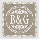 Personalised Bride&Groom Burlap&Lace Square Sticker
