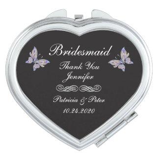 Personalised Bridesmaid Heart Compact Mirror