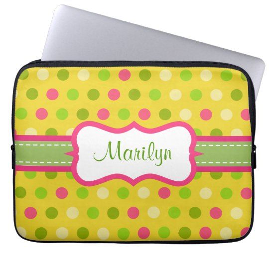 Personalised Bright Dot Laptop Case