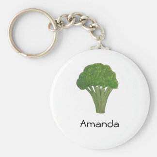 Personalised broccoli keyring basic round button key ring